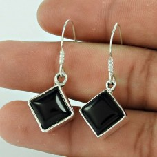 925 Sterling Silver Jewelry Ethnic Black Onyx Gemstone Earrings Wholesaler