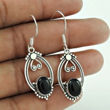 Good Fortune ! Black Onyx Gemstone Sterling Silver Earrings Jewelry Wholesaling
