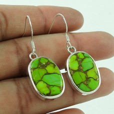 Possessing Good Fortune 925 Sterling Silver Green Copper Turquoise Gemstone Earring Traditional Jewellery