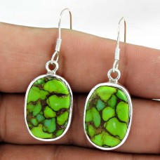 925 Sterling Silver Indian Jewelry Traditional Green Copper Turquoise Gemstone Earrings