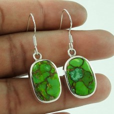 925 Silver Jewelry Beautiful Green Copper Turquoise Gemstone Earrings