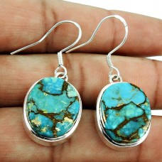 Designer Turquoise Gemstone Earrings 925 Sterling Silver Jewellery