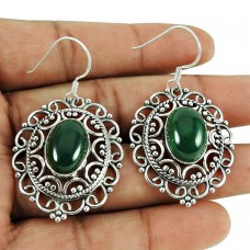 Party Wear Malachite Gemstone Earrings 925 Sterling Silver Jewellery