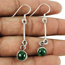 Beautiful Malachite Gemstone Earrings 925 Sterling Silver Fashion Jewellery