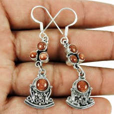 Designer Brown Sunstone Earrings 925 Sterling Silver Vintage Jewellery