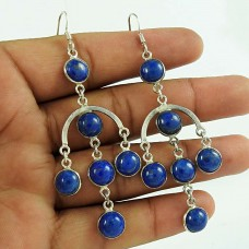 Graceful Lapis Gemstone 925 Sterling Silver Dangle Earrings Jewellery