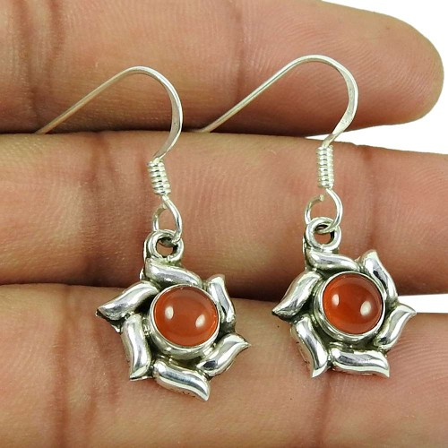 Lovely 925 Sterling Silver Carnelian Gemstone Earrings Handmade Jewellery