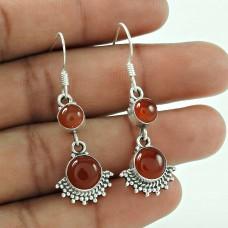 Daily Wear 925 Sterling Silver Carnelian Gemstone Earrings