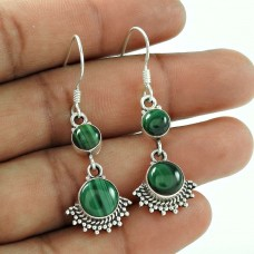 Rare 925 Sterling Silver Malachite Gemstone Earrings