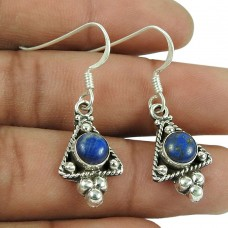 Party Wear 925 Sterling Silver Lapis Gemstone Earrings