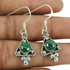 Stunning 925 Sterling Silver Malachite Gemstone Earrings