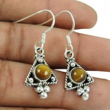 Fashion 925 Sterling Silver Tiger Eye Gemstone Fashion Earrings