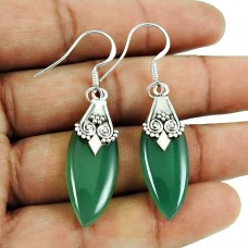 Designer Green Onyx Gemstone Earrings Sterling Silver Fashion Jewellery