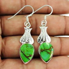 Rare Green Copper Turquoise Gemstone Earrings 925 Silver Jewellery