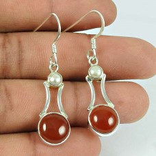 Possessing Good Fortune Carnelian, Pearl Gemstone Sterling Silver Earrings 925 Sterling Silver Indian Jewellery