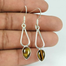 Charming Tiger Eye Gemstone Sterling Silver Earrings 925 Sterling Silver Vintage Jewellery