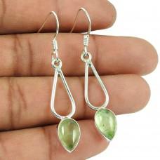 925 Silver Jewelry Ethnic Prehnite Gemstone Earrings
