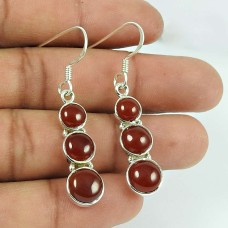 Graceful Carnelian Gemstone Sterling Silver Earrings 925 Silver Jewellery