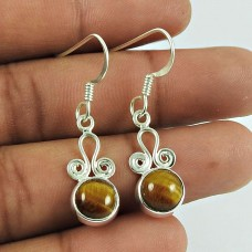 Scrumptious Tiger Eye Gemstone Sterling Silver Earrings 925 Sterling Silver Jewellery