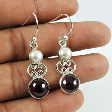 Dainty Garnet, Pearl Gemstone Sterling Silver Earrings 925 Sterling Silver Vintage Jewellery