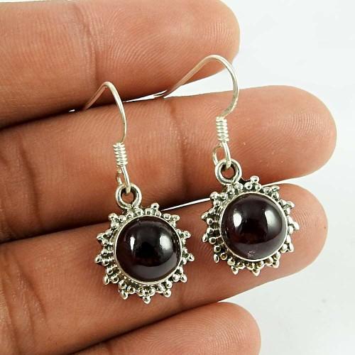 Rare Garnet Gemstone 925 Sterling Silver Fashion Dangle Earrings Handmade Jewellery