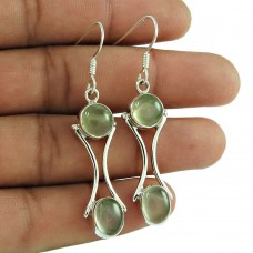Charming Prehnite Gemstone 925 Sterling Silver Vintage Earrings Jewellery