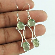 925 Sterling Silver Fashion Jewelry Charming Prehnite Gemstone Earrings Exporter