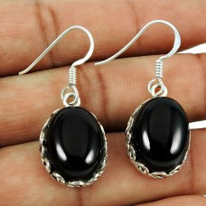 Rare Black Onyx Gemstone Earrings 925 Sterling Silver Indian Jewellery