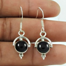 Pretty Black Onyx Gemstone 925 Sterling Silver Dangle Earrings Jewellery