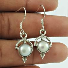 Lovely PearlIndian Sterling Silver Dangle Earrings Jewellery