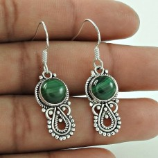 Rattling 925 Sterling Silver Malachite Gemstone Earrings