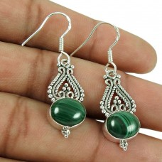 Lustrous 925 Sterling Silver Malachite Gemstone Earrings