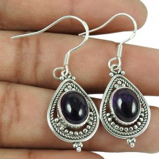 Good-Looking 925 Sterling Silver Amethyst Gemstone Earrings Vintage Jewellery