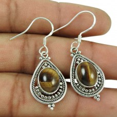 Handy 925 Sterling Silver Tiger Eye Gemstone Earrings