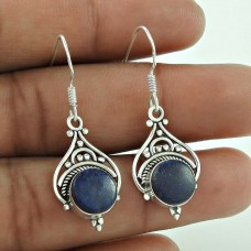 Classic 925 Sterling Silver Lapis Gemstone Designer Earrings