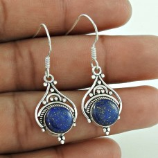 Amusable 925 Sterling Silver Lapis Gemstone Traditional Earrings