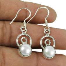 Pretty 925 Sterling Silver Pearl Earrings Vintage Jewellery