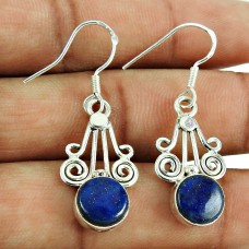 925 Sterling Silver Vintage Jewelry Ethnic Lapis Gemstone Earrings Wholesaler