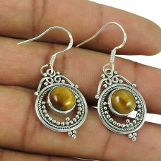 Scrumptious 925 Sterling Silver Tiger Eye Gemstone Earrings