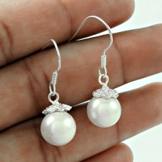 Rare 925 Sterling Silver Pearl Earrings