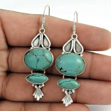 Good Looking!! 925 Sterling Silver Turquoise Earrings Großhandel