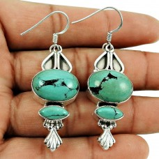 Trendy Turquoise Gemstone Earrings Sterling Silver Fashion Jewellery