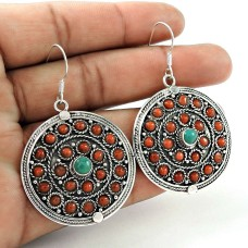 Fashion Coral, Turquoise Earrings Indian Sterling Silver Jewellery