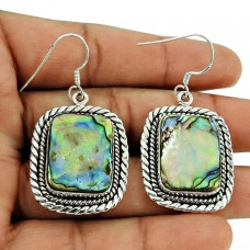 Fashion Shell Gemstone Earrings 925 Sterling Silver Vintage Jewellery