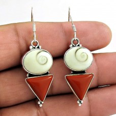 Rare Coral, Shiva Eye Gemstone Sterling Silver Earrings 925 Sterling Silver Fashion Jewellery