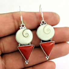 925 Sterling Silver Jewelry Traditional Coral, Shiva Eye Gemstone Earrings