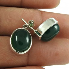 Beautiful 925 Sterling Silver Green Onyx Gemstone Stud Earring Jewellery