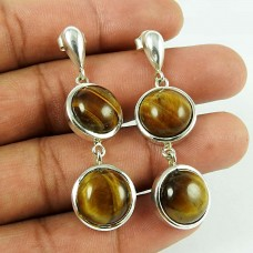 Personable Tiger Eye Gemstone 925 Sterling Silver Drop Earrings Jewellery