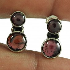 Rare Garnet Gemstone 925 Sterling Silver Fashion Stud Earrings Jewellery