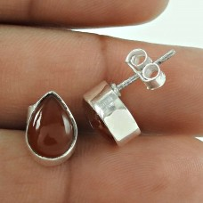 Seemly Carnelian Gemstone 925 Sterling Silver Stud Earrings Jewellery